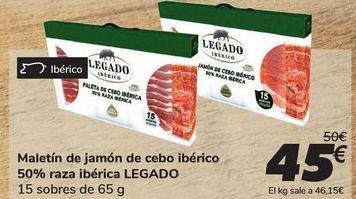Oferta de Maletín de jamón de cebo ibérico 50% raza ibérica LEGADO por 45€