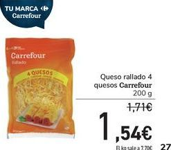 Oferta de Queso rallado 4 quesos Carrefour por 1,54€