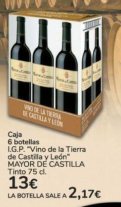Oferta de Caja 6 botellas I.G.P Vino de la Tierra de Castilla y León MAYOR DE CASTILLA Tinto  por 13€