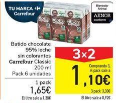 Oferta de Batido chocolate 95% leche sin colorantes Carrefour Classic por 1,65€