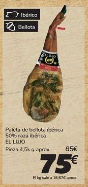 Oferta de Paleta de bellota ibérica 50% raza ibérica EL LUJO por 75€
