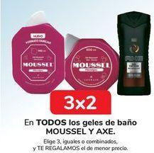 Oferta de En TODOS los geles de baño MOUSSEL y AXE  por