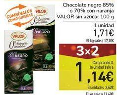 Oferta de Chocolate negro 85% o 70% con naranja VALOR sin azúcar por 1,71€