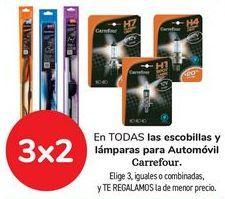Oferta de En TODAS las escobillas y lamparas para automóvil Carrefour  por