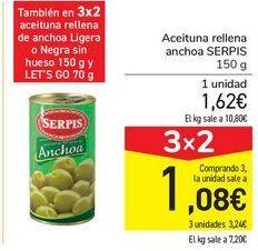 Oferta de Aceituna rellena anchoa SERPIS por 1,62€