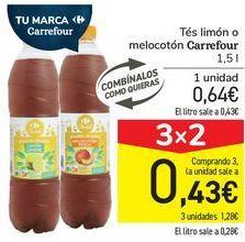 Oferta de Tés limón o melocotón Carrefour  por 0,64€