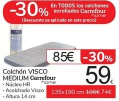 Oferta de Colchón VISCO MEDIUM Carrefour  por 59€
