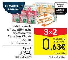 Oferta de Batido vainilla o fresa 95% leche sin colorantes Carrefour Classic por 0,94€