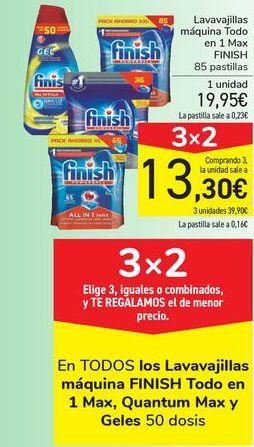 Oferta de Lavavajillas máquina todo en 1 Max FINISH por 19,95€