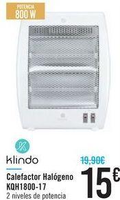 Oferta de Clafecator halógeno KBH1800-17 Klindo  por 15€