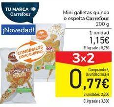 Oferta de Mini galletas quinoa o espelta Carrefour por 1,15€