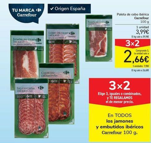Oferta de En TODOS los jamones y embutidos ibéricos Carrefour por