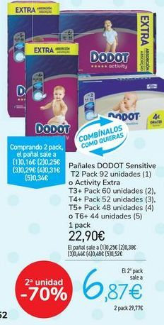 Oferta de Pañales DODOT Sensitive o Activity Extra  por 22,9€