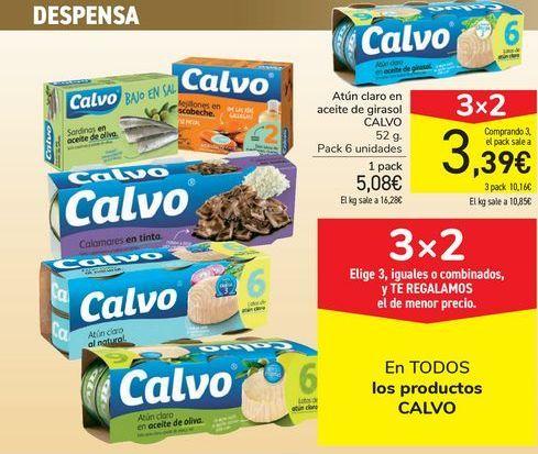 Oferta de Atún claro en aceite de girasol CALVO por 5,08€
