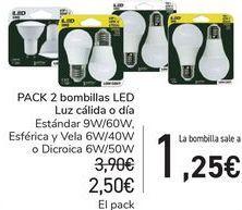 Oferta de PACK 2 Bombillas LED Luz cálida o día por 2,5€