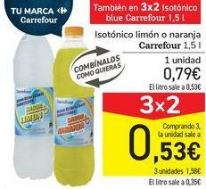 Oferta de Isótonico limón o naranja Carrefour  por 0,79€