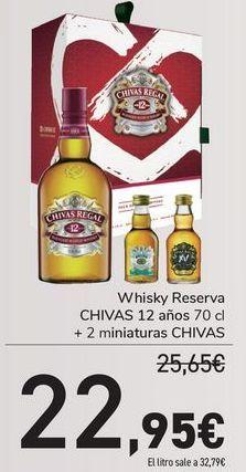 Oferta de Whisky reservas CHIVAS 12 años + 2 miniaturas CHIVAS por 22,95€
