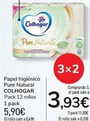 Oferta de Papel higiénico Pure Natural COLHOGAR por 5,9€