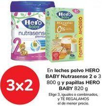Oferta de En leches en polvo HERO BABY Nutrasense 2 o 3 y papillas HERO BABY por