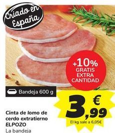 Oferta de Cinta de lomo de cerdo extratierno ELPOZO por 3,99€