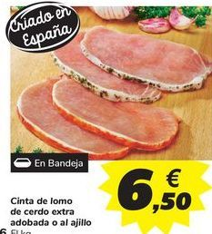 Oferta de Cinta de lomo de cerdo extra adobada o al ajillo por 6,5€
