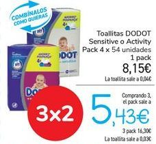 Oferta de Toallitas DODOT Sensitive o Activity  por 8,15€
