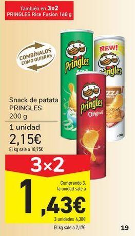 Oferta de Snack de patata PRINGLES por 2,15€