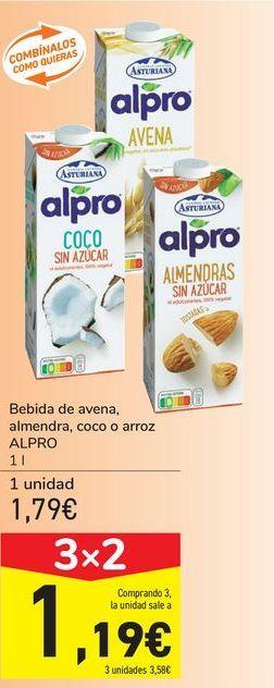 Oferta de Bebida de avena, almendra, coco o arroz ALPRO por 1,79€