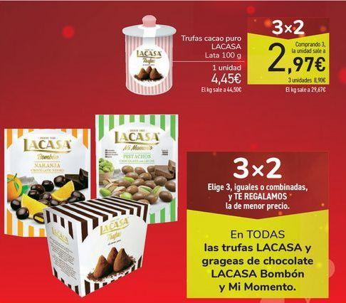 Oferta de En TODAS las trufas LACASA y grageas de chocolate LACASA Bombón y Mi Momento por
