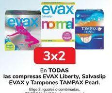 Oferta de En TODOS las compresas EVAX liberty, salvaslip EVAX y tampones y tampax Pearl por