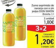 Oferta de Zumo exprimido de naranja con o sin pulpa DON SIMÓN  por 1,8€