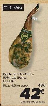 Oferta de Paleta de cebo ibérica 50% raza ibérica EL LUJO por 42€