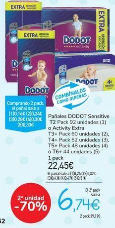 Oferta de Pañales DODOT Sensitive o Activity Extra  por 22,45€