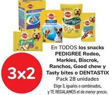 Oferta de En TODOS los sncak PEDIGREE Rodeo, Markies, Biscrok, Ranchoas, Good chew y Tasty bites o DENTASTIX por