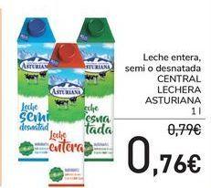 Oferta de Leche entera, semi o desnatada CENTRAL LECHERA ASTURIANA por 0,76€
