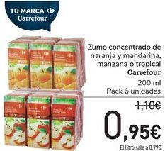 Oferta de Zumo concetrado de naranja y man darina, manzana o tropical Carrefour  por 0,95€