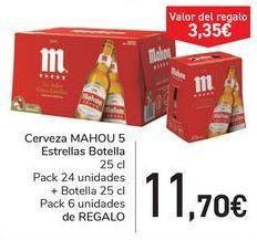 Oferta de Cerveza MAHOU 5 Estrella Botella  por 11,7€