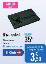 Oferta de Disco duro interno Kingston por 35€