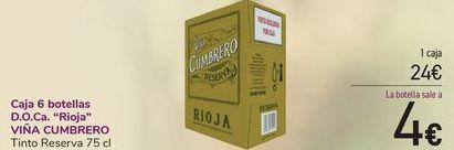 Oferta de Caja 6 botellas D.O.Ca Rioja VIÑA CUMBRERO  por 24€