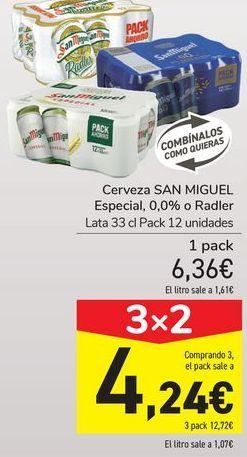 Oferta de Cerveza SAN MIGUEL, 0,0 Radler  por 6,36€
