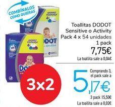Oferta de Toallitas DODOT Sensitive o Activity  por 7,75€