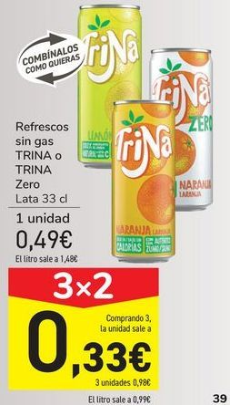 Oferta de Refresco sin gas TRINA o TRINA Zero por