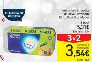 Oferta de Atún claro en aceite de oliva Carrefour por 5,31€