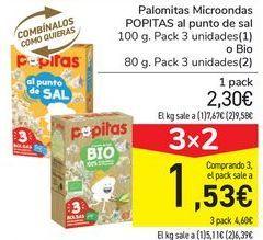 Oferta de Palomitas Micoondas POPITAS al punto de sal o Bio por 2,3€