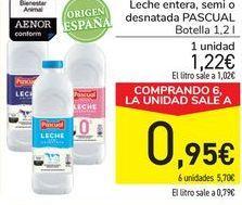 Oferta de Leche entera, semi o desnatada PASCUAL por 1,22€