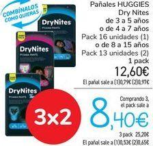 Oferta de Pañales HUGGIES Dry Nites por 12,6€