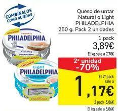 Oferta de Queso de untar Natural o Light PHILADELPHIA por 3,89€