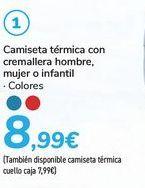 Oferta de Camiseta térmica con cremallera hombre, mujer o infantil  por 8,99€