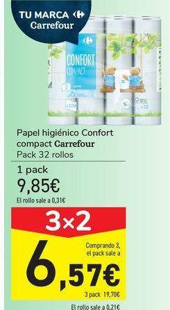Oferta de Papel higiénico Confort compact Carrefour  por 9,85€