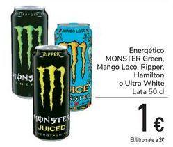 Oferta de Energéticos MONSTER Green, Mango Loco, Ripper, Hamilton o Ultra White  por 1€